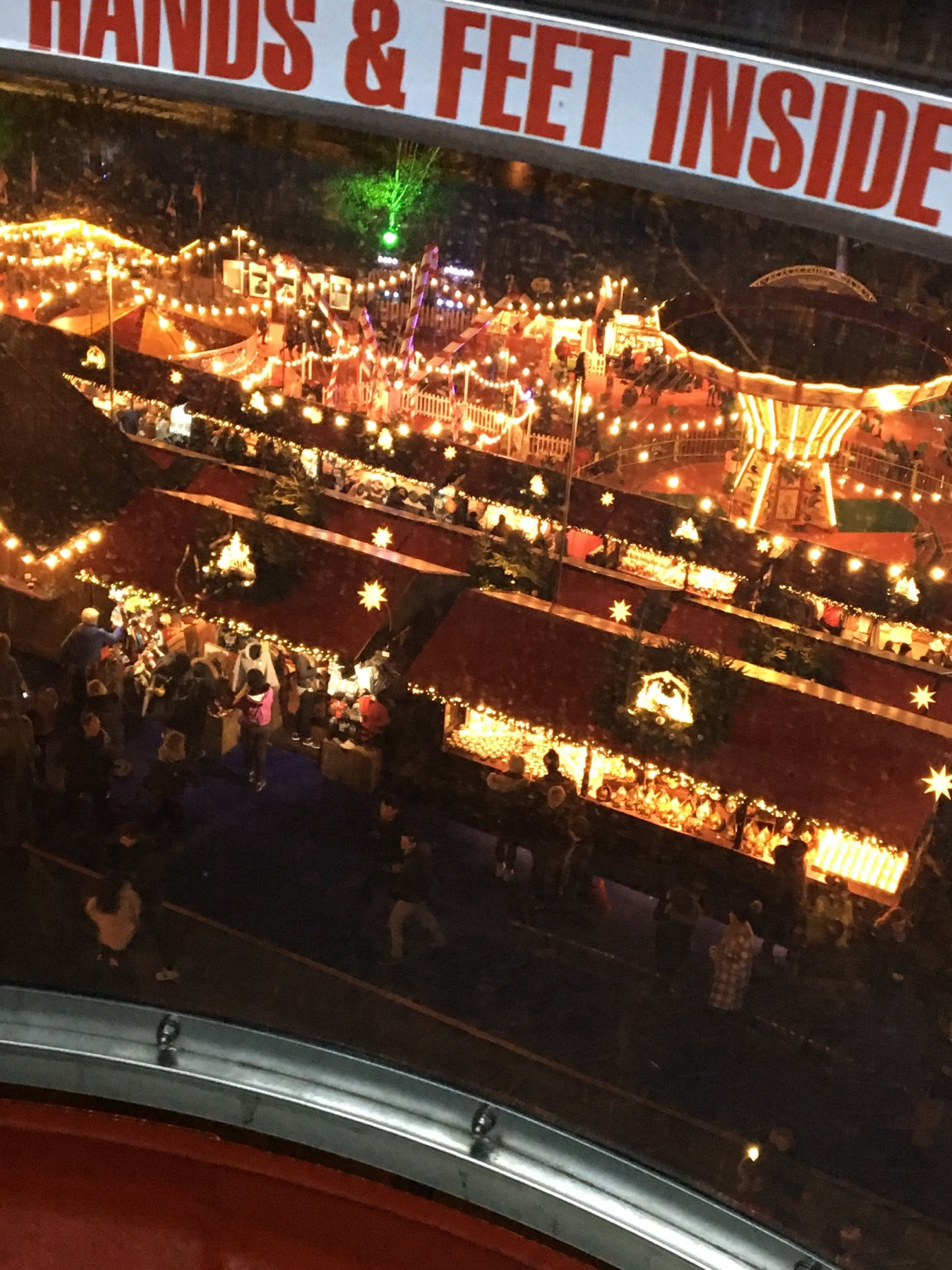 View of Edinburgh's Christmas Market from the Ferris Wheel Pod