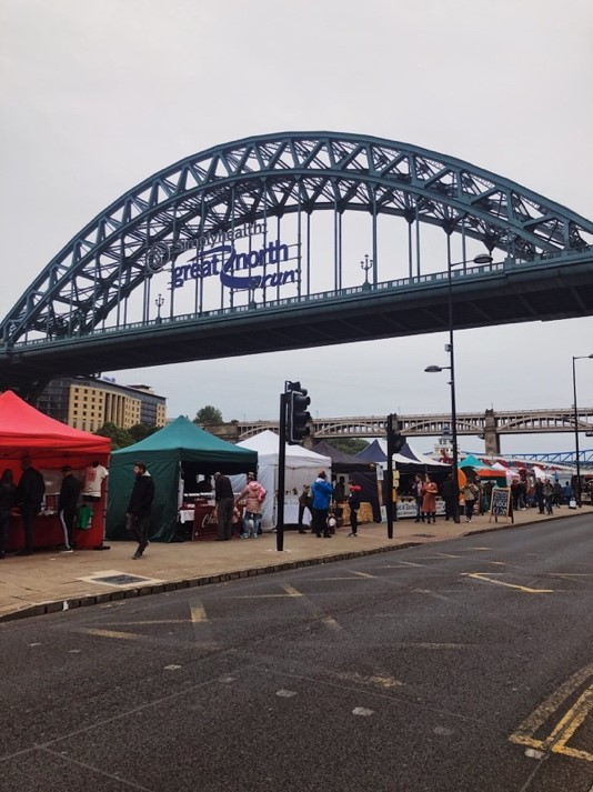 Quayside Sunday Market and Tyne Bridge